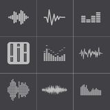 Vector black music soundwave icons set Stock Photo