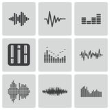 Vector black music soundwave icons set Stock Photos