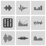 Vector black music soundwave icons set Stock Photos
