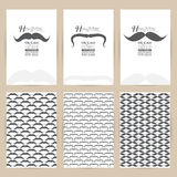 Vector black Mustache set of Vintage pattern background banner  Stock Image
