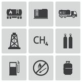 Vector black natural gas icons set Stock Images