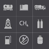 Vector black natural gas icons set Stock Photos