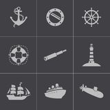 Vector black nautical icons set Stock Image