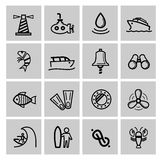 Vector black nautical icons set Royalty Free Stock Images