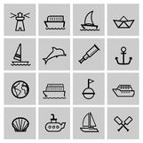 Vector black nautical icons set Stock Photos