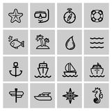 Vector black nautical icons set Royalty Free Stock Image
