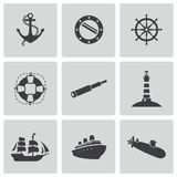 Vector black nautical icons set Stock Photo