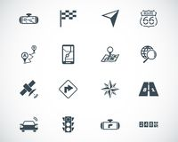 Vector black navigation icons Stock Images