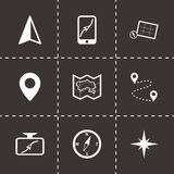 Vector black navigation icons set. On black background Royalty Free Stock Photography