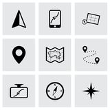 Vector black navigation icons set Stock Photos