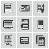 Vector black newspaper icons set Stock Photos
