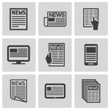 Vector black newspaper icons set Stock Photos