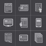 Vector black newspaper icons set Royalty Free Stock Photography