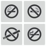 Vector black no smoking icons set Royalty Free Stock Photo