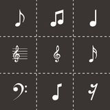 Vector black notes icons set. On black background Royalty Free Stock Images