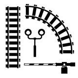 Vector black  objects for rail road icons set Stock Photos