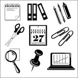 Vector black office icon set on white Stock Images
