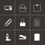 Vector black office icons set Royalty Free Stock Image