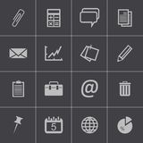 Vector black  office icons set Royalty Free Stock Images