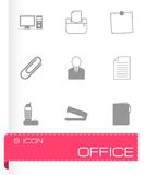 Vector black office icons set Stock Images