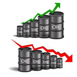 Vector black oil barrel with red and green arrows on white backg Royalty Free Stock Images