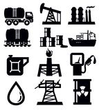 Oil icons. Vector black oil icons set on white Royalty Free Stock Photo
