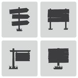 Vector black old wood sign set Royalty Free Stock Images