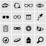 Vector black optometry icon set Stock Photos
