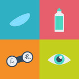 Vector black optometry icon set. Optician, ophtalmology, vision correction, eye test, eye care, eye diagnostic Royalty Free Stock Image
