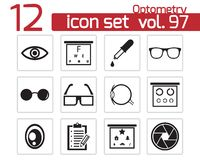 Vector black  optometry  icons Stock Images