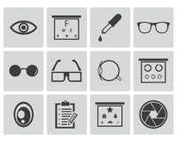Vector black  optometry  icons Royalty Free Stock Images