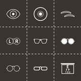 Vector black optometry icons set. On black background Stock Images