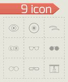 Vector black optometry icons set Royalty Free Stock Photo