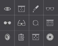 Vector black  optometry  icons set Stock Image