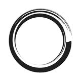 Vector black paint brush circle stroke. Abstract japanese style hand drawn black ink circle.  stock illustration