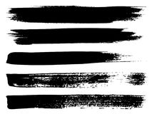 Vector black paint hand made creative brush stroke. Vector collection of artistic grungy black paint hand made creative brush stroke set isolated on white Stock Images