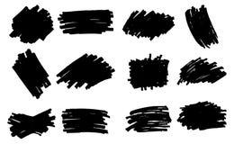 Vector black paint, ink brush stroke, brush, line or texture. Di Vector Illustration