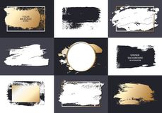 Vector black paint, ink brush stroke, brush, line or texture. Texture artistic design element, box, frame or background for text royalty free illustration