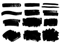 Vector black paint, ink brush stroke, brush, line or texture. Di. Rty artistic design element, box, frame or background for text stock illustration