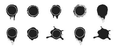 Vector black paint splashes. Ink clip art illustration on white stock illustration