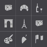 Vector black paris icons set Royalty Free Stock Photos