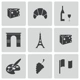 Vector black paris icons set Stock Photography