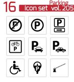 Vector black parking icons set Royalty Free Stock Images