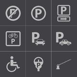 Vector black parking icons set Stock Photography