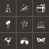 Vector black party icons set Royalty Free Stock Photos