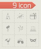 Vector black party icons set Royalty Free Stock Image
