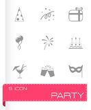 Vector black party icons set Royalty Free Stock Photography