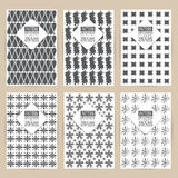 Vector black pattern set of Vintage background banner retro broc Royalty Free Stock Images