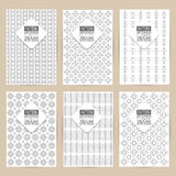 vector black pattern set of Vintage background banner retro brochures templates cards six frames design Scribbled lines rectangle vector illustration