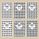 Vector black pattern set of Vintage background banner retro broc Royalty Free Stock Photos